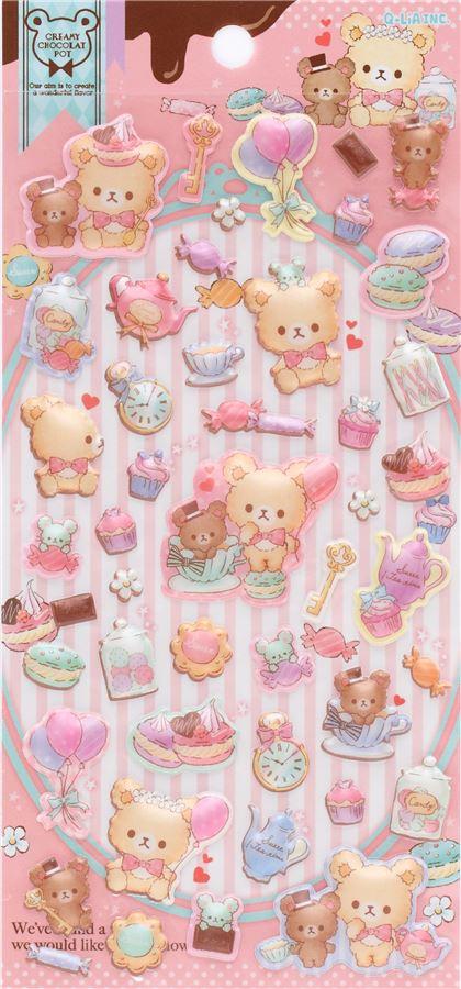 cute bear macaron tea pot puffy 3D sponge stickers from Japan.