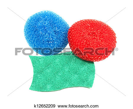 Stock Photograph of pot scrubbers and sponge k12652209.