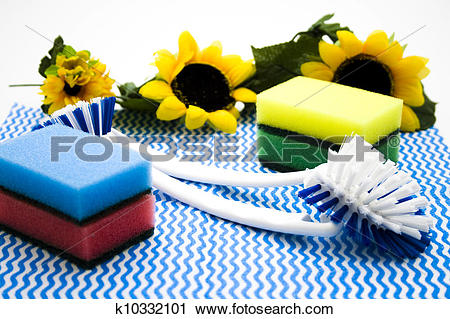 Stock Photography of Pot sponges with brush k10332101.