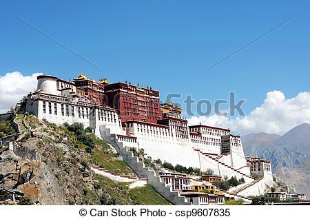 Stock Images of Landmark of the famous Potala Palace in Lhasa.