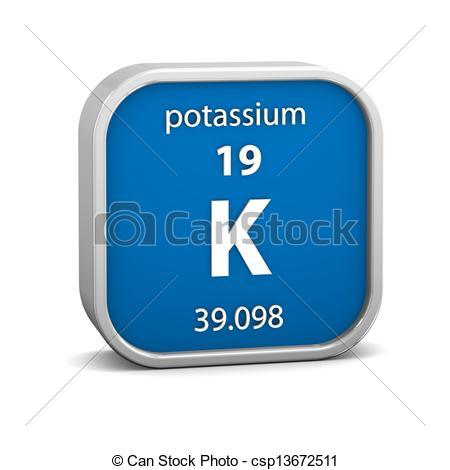 Clipart of Potassium material sign.