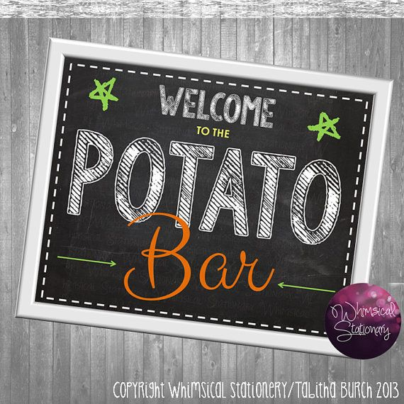 Potato Bar Party Food Table Sign (Printable File Only.