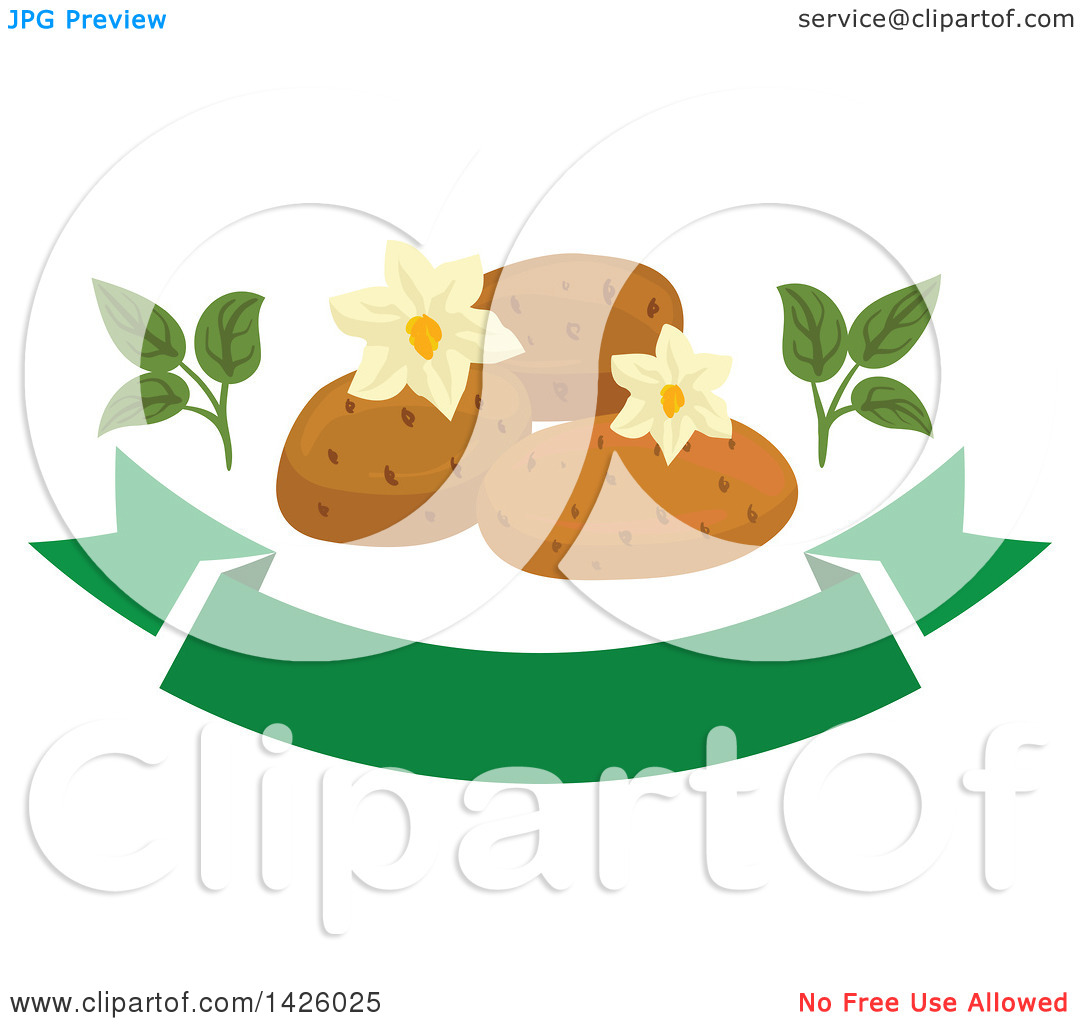 Clipart of Blossoms and Potatoes over a Green Banner.