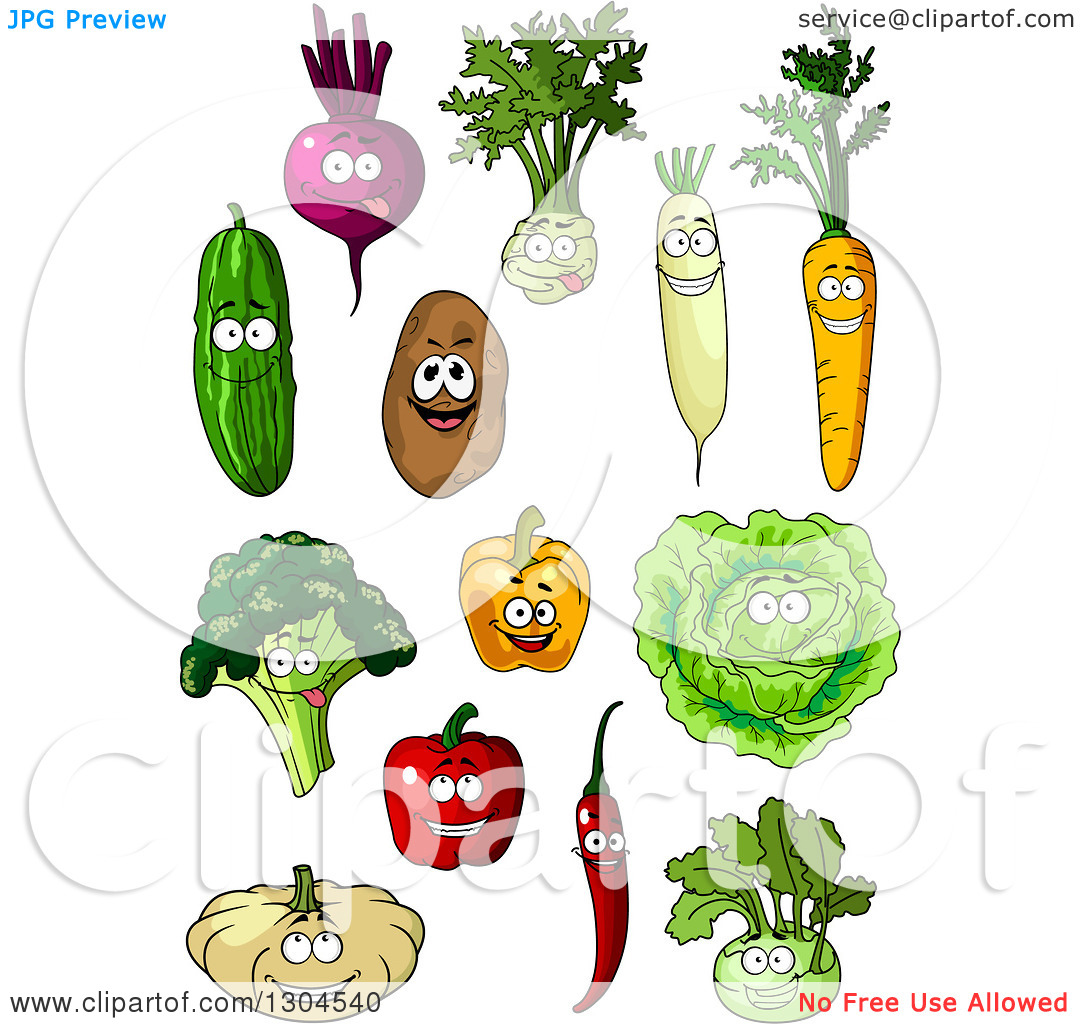 Clipart of Cartoon Beet, Kohlrabi, Radish, Carrot, Cucumber.