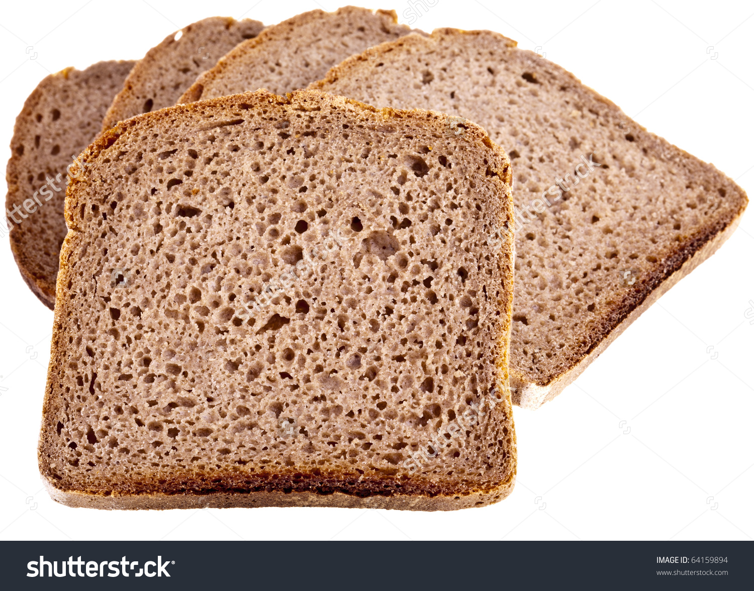 Wholemeal Bread Completely Isolated On White Stock Photo 64159894.