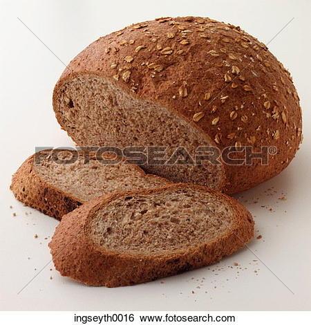 Stock Images of loaf, bread, brown bread, slices, slice, sliced.