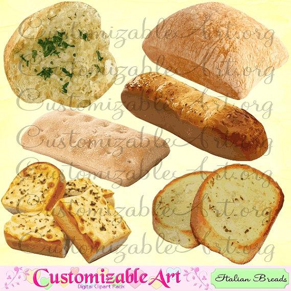 Italian Bread Clipart Digital Italian Garlic by CustomizableArt.