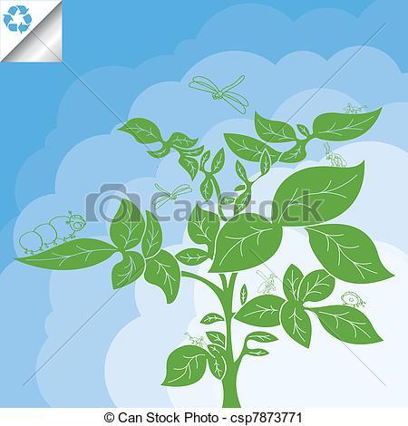 Vector Clip Art of Potato plant bush vector concept background.