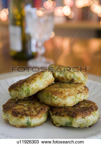 Stock Photo of Bubble and Squeak potato cakes.