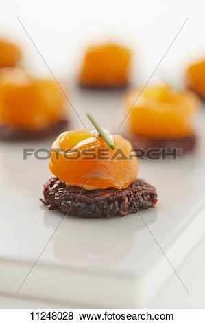 Pictures of Smoked salmon on beetroot potato cakes 11248028.