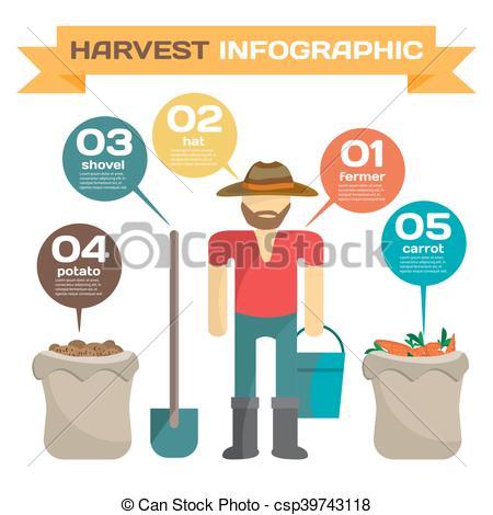 Vector Clip Art of Infographic set man harvesting potato in the.