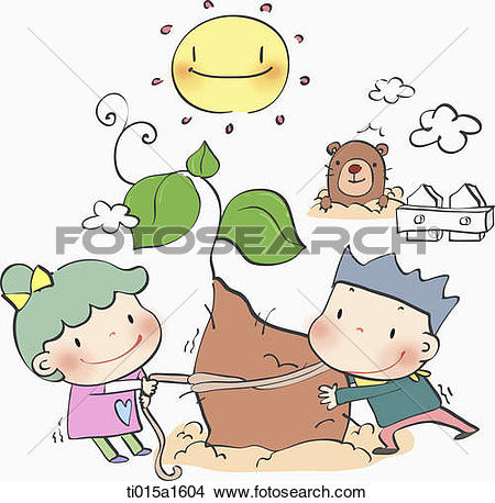 Drawings of illustration of two kids harvesting sweet potato.