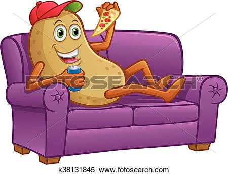 Clipart of Couch Potato Relaxing with Pizza k38131845.