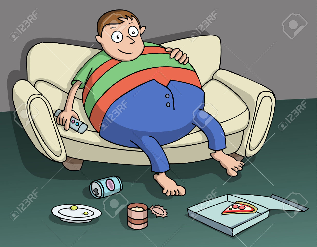 Very Overweight Man Sitting On The Couch Holding A Remote In.