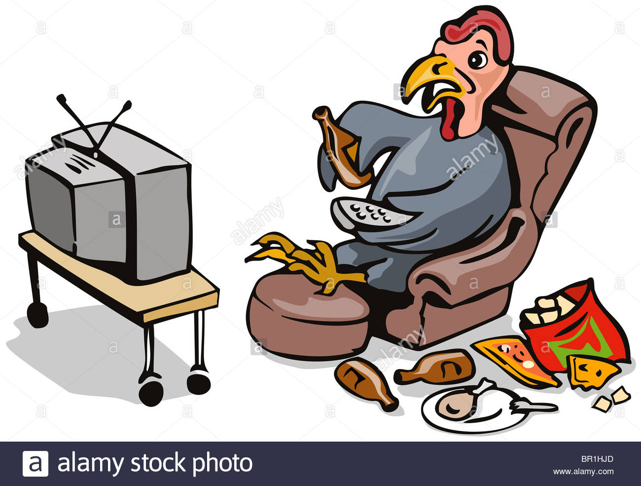 Cartoon Illustration Of A Lazy Couch Potato Turkey Drinking Beer.