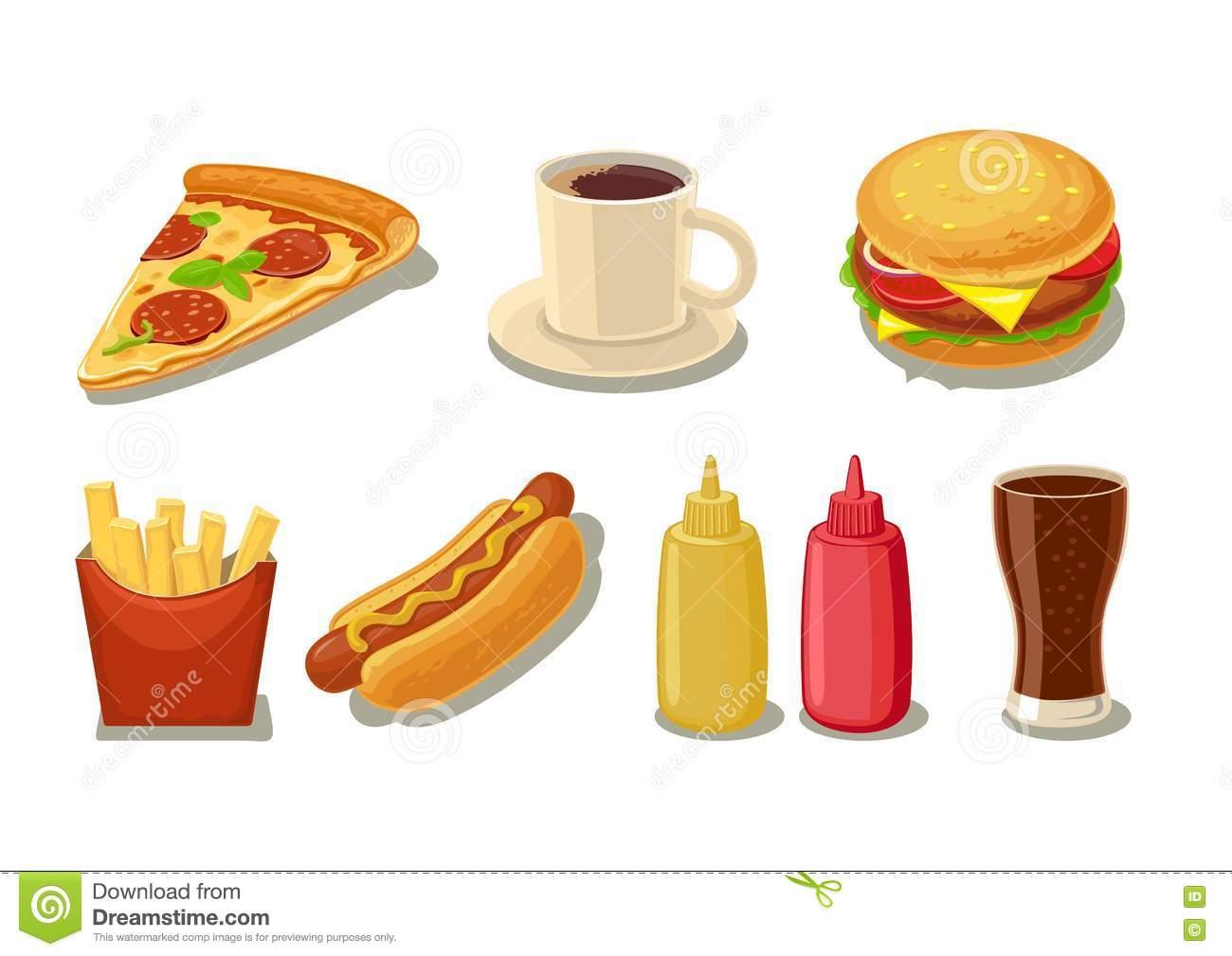 Set Fast Food Icon. Glass Of Cola, Hamburger, Pizza, Hotdog, Cup.