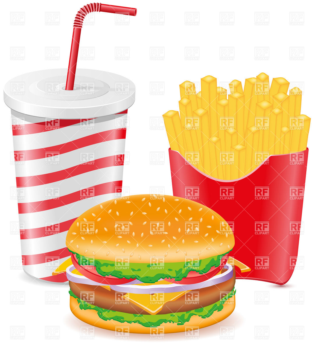 Cheeseburger, fries potato and soda paper cup with straw Vector.