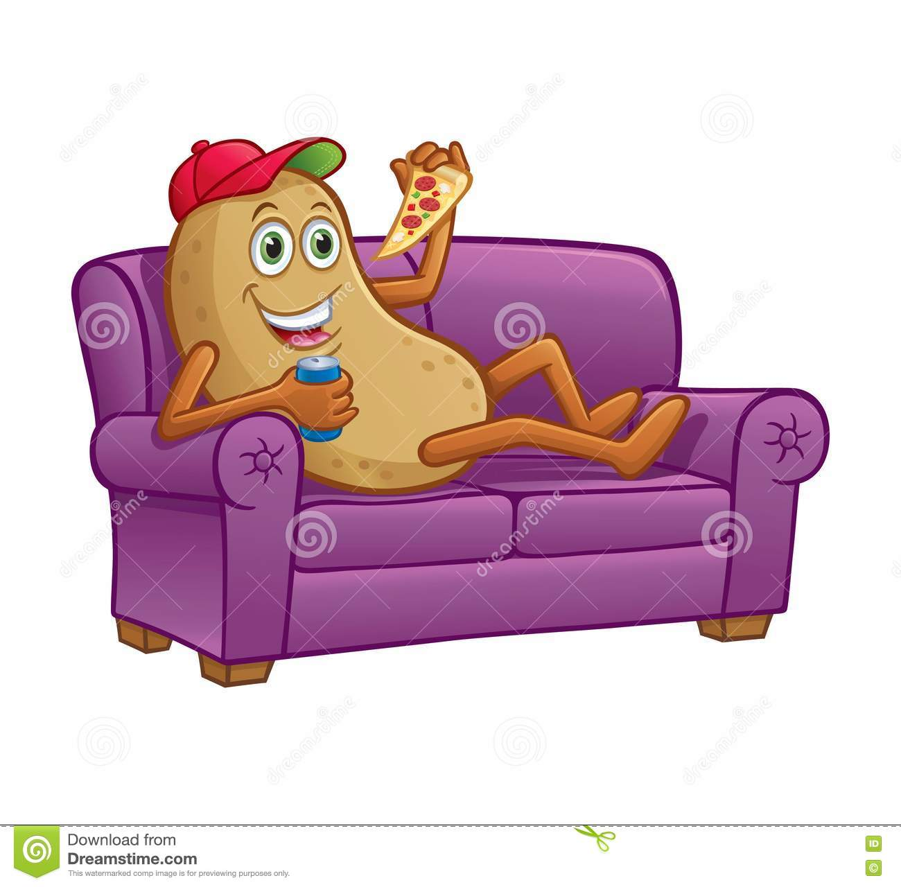 Couch Potato Eating Pizza On Couch Stock Photo.
