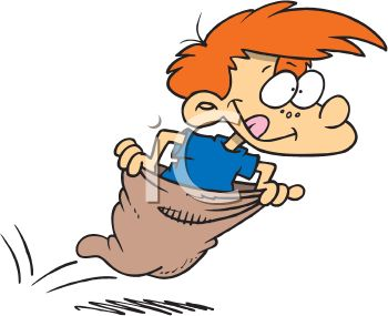 Red Haired Boy in a Potato Sack Race.