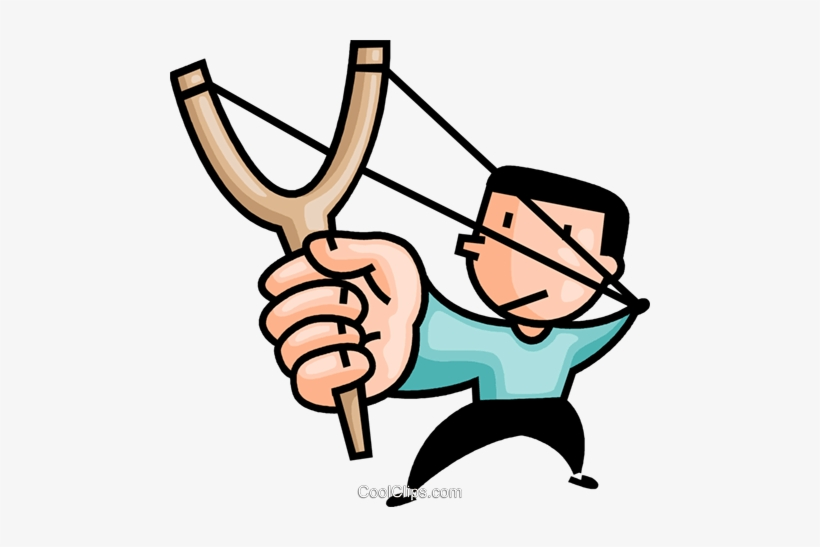 Boy With A Slingshot Royalty Free Vector Clip Art.