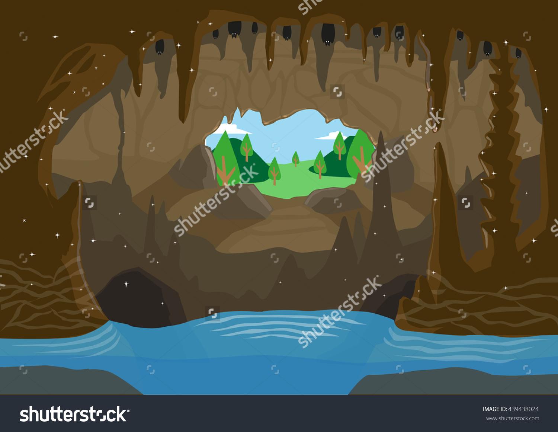 Illustration Cave Underground River Bats Hanging Stock Vector.