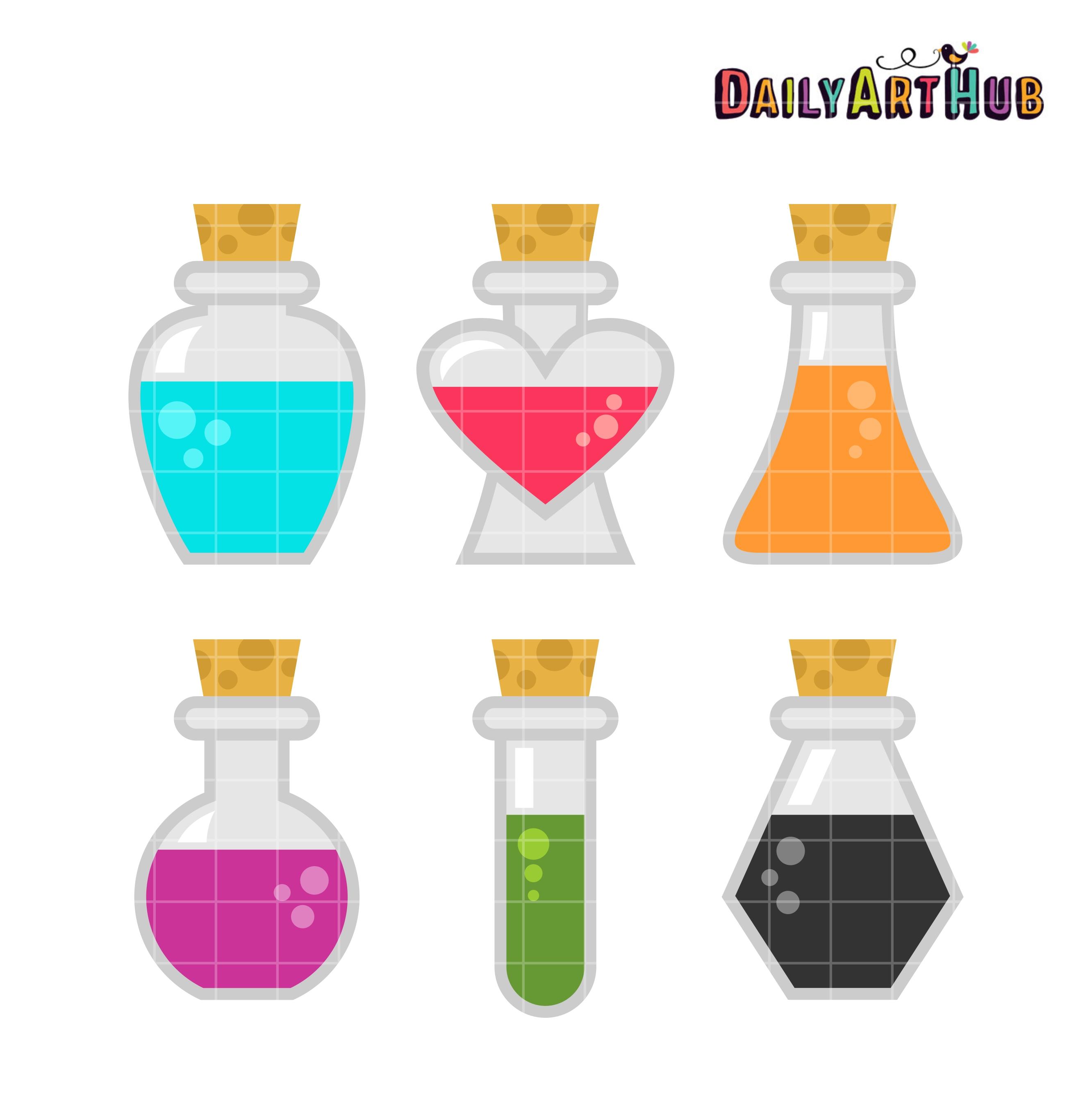 Potion Bottles Clipart Color.
