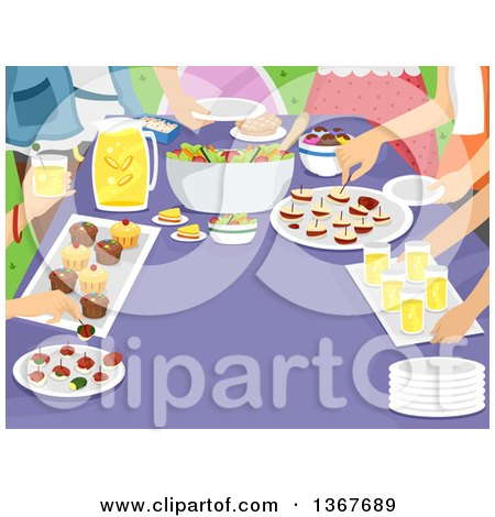 Clipart of Happy People at a Potluck Party.