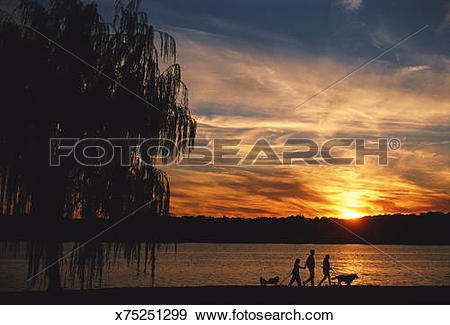 Stock Photograph of Family walking along the Potomac River.