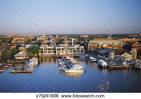 Stock Images of Potomac River waterfront of Old Town Alexandria.