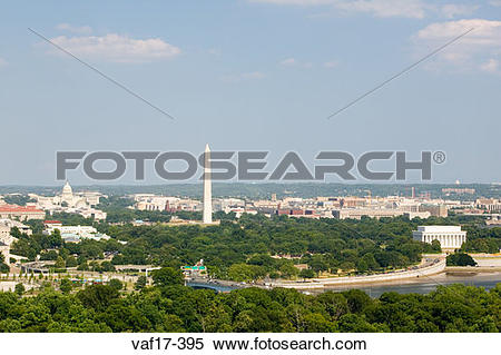 Stock Image of Washington D.C. aerial view with US Capitol.