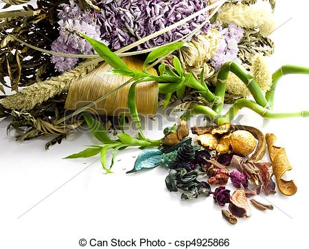 Stock Image of potpourri, dried flowers and bamboo on white.