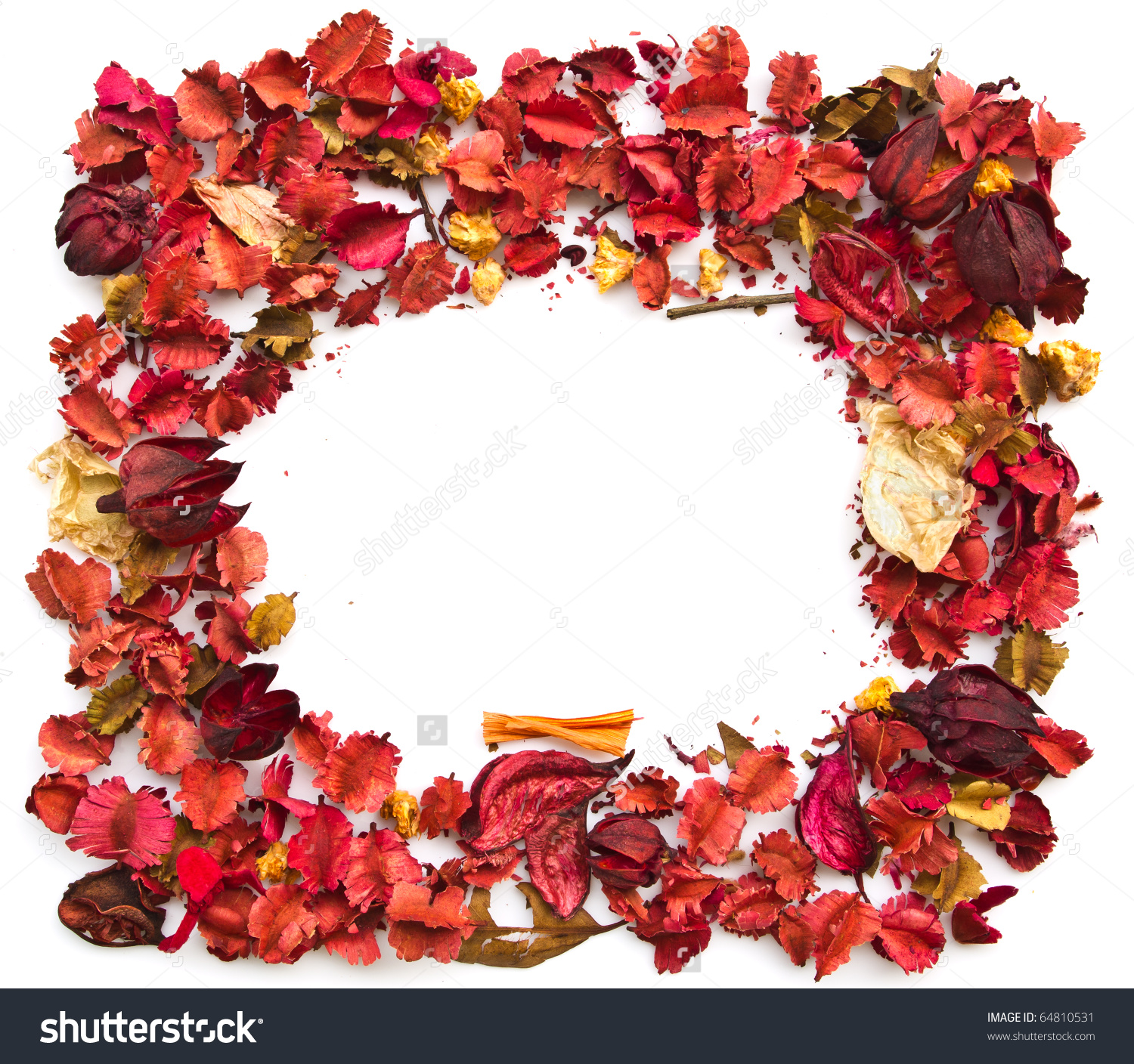 Frame Of Potpourri Isolated On White Background Stock Photo.