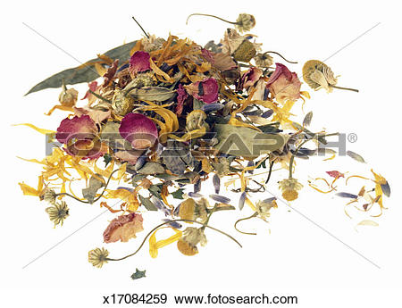 Stock Photograph of Potpourri made from dried flowers and leaves.