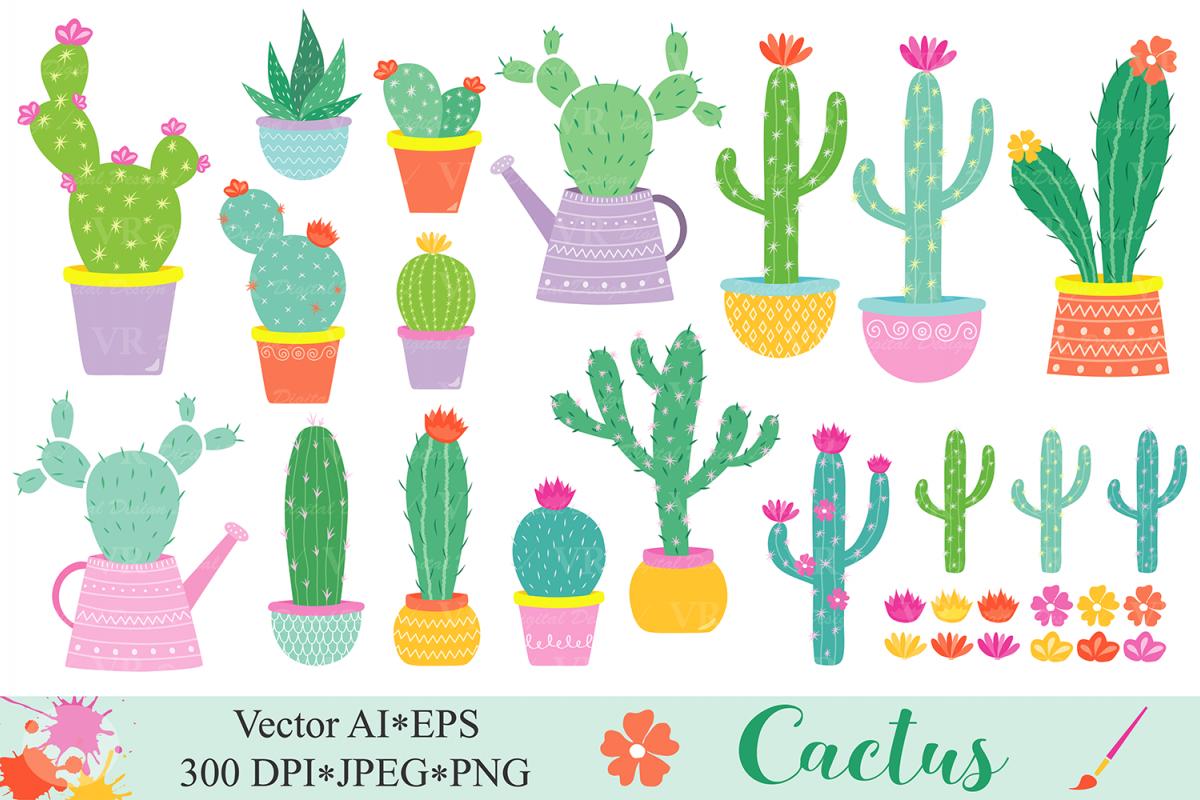 Cactus clipart Cacti plants clip art Cute potted cactuses vector graphics  Cactus illustrations.