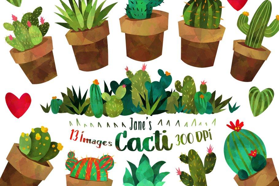 Watercolor Cactus Clipart.
