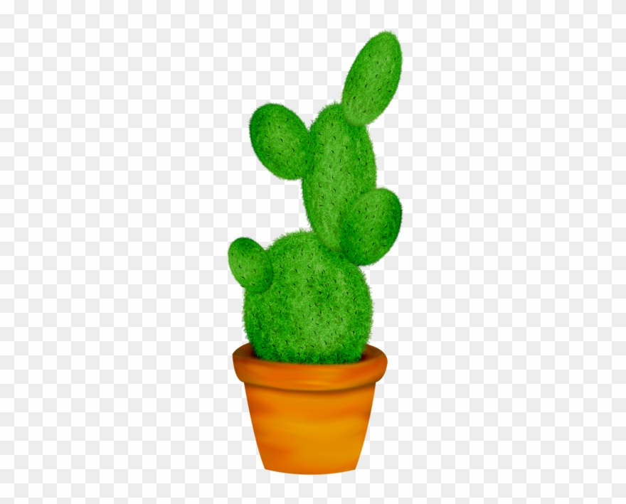 Potted Cactus * Home Clipart, Cactus Vector, Leaf Template.