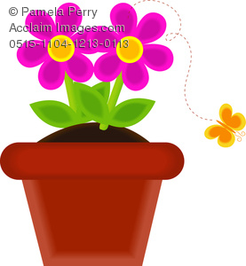 Clip Art Image of a Potted Flower With a Butterfly Flying Away.