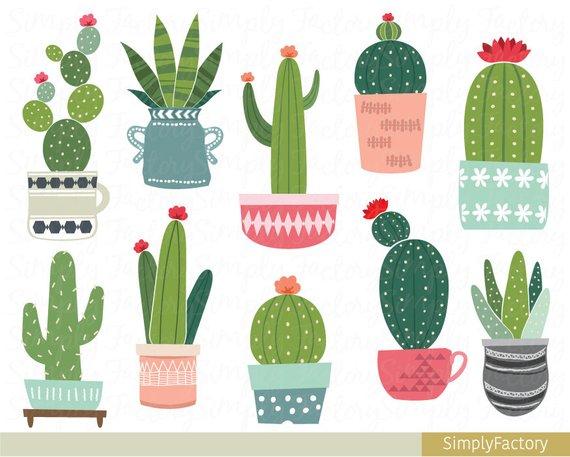 Cactus potted clip art, succulent clipart, tribal, cacti.