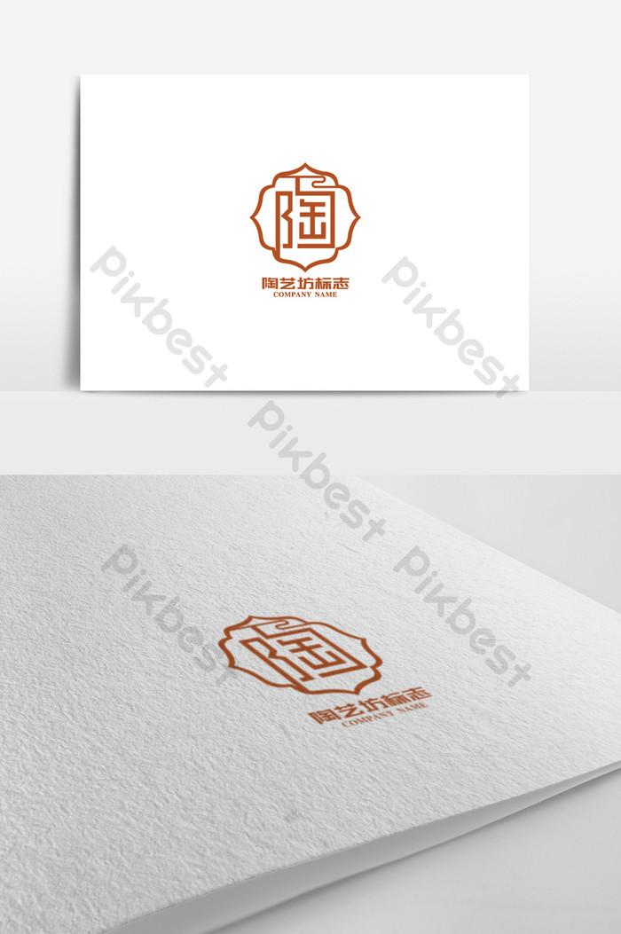 Creative pottery square logo design.