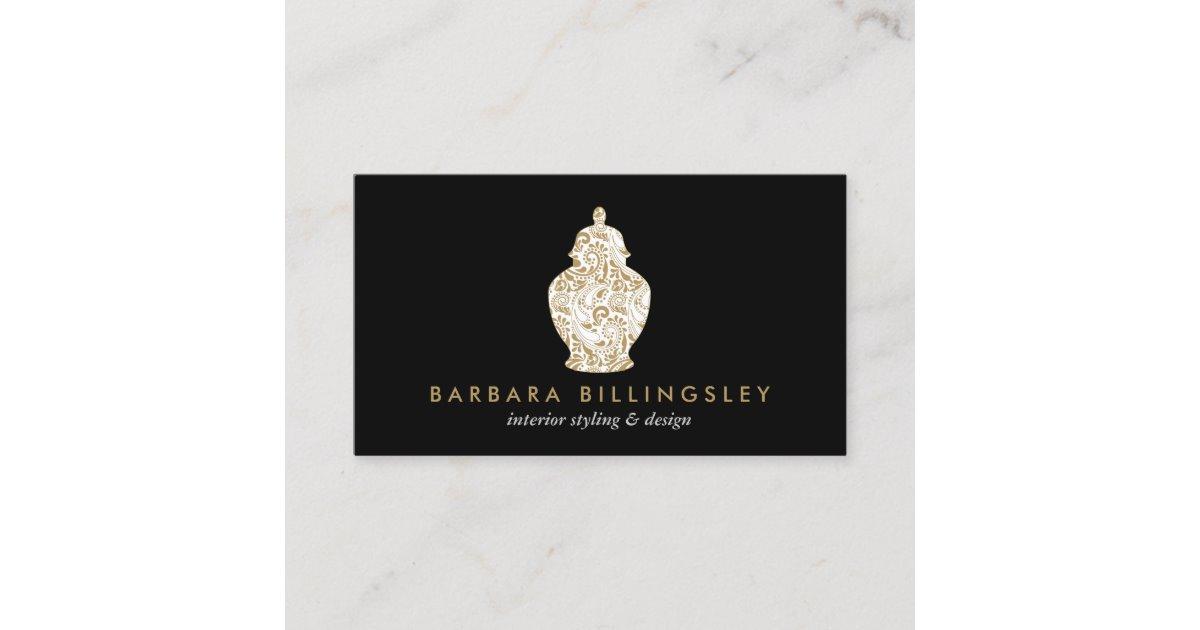 Ginger Jar Pottery Logo Designer Black/Gold Business Card.