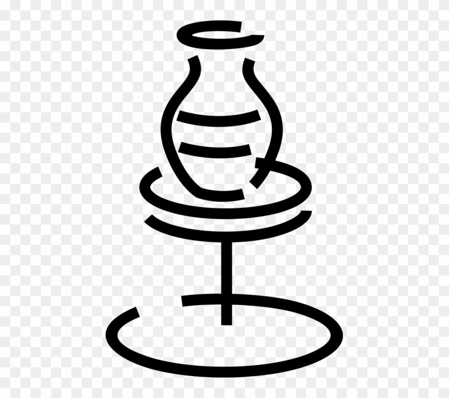 Ceramic Ware Vase On Potter S Vector.