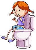 Girl Going Potty Clipart.