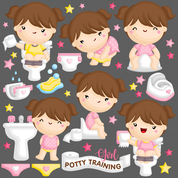 Girl potty training Vector.