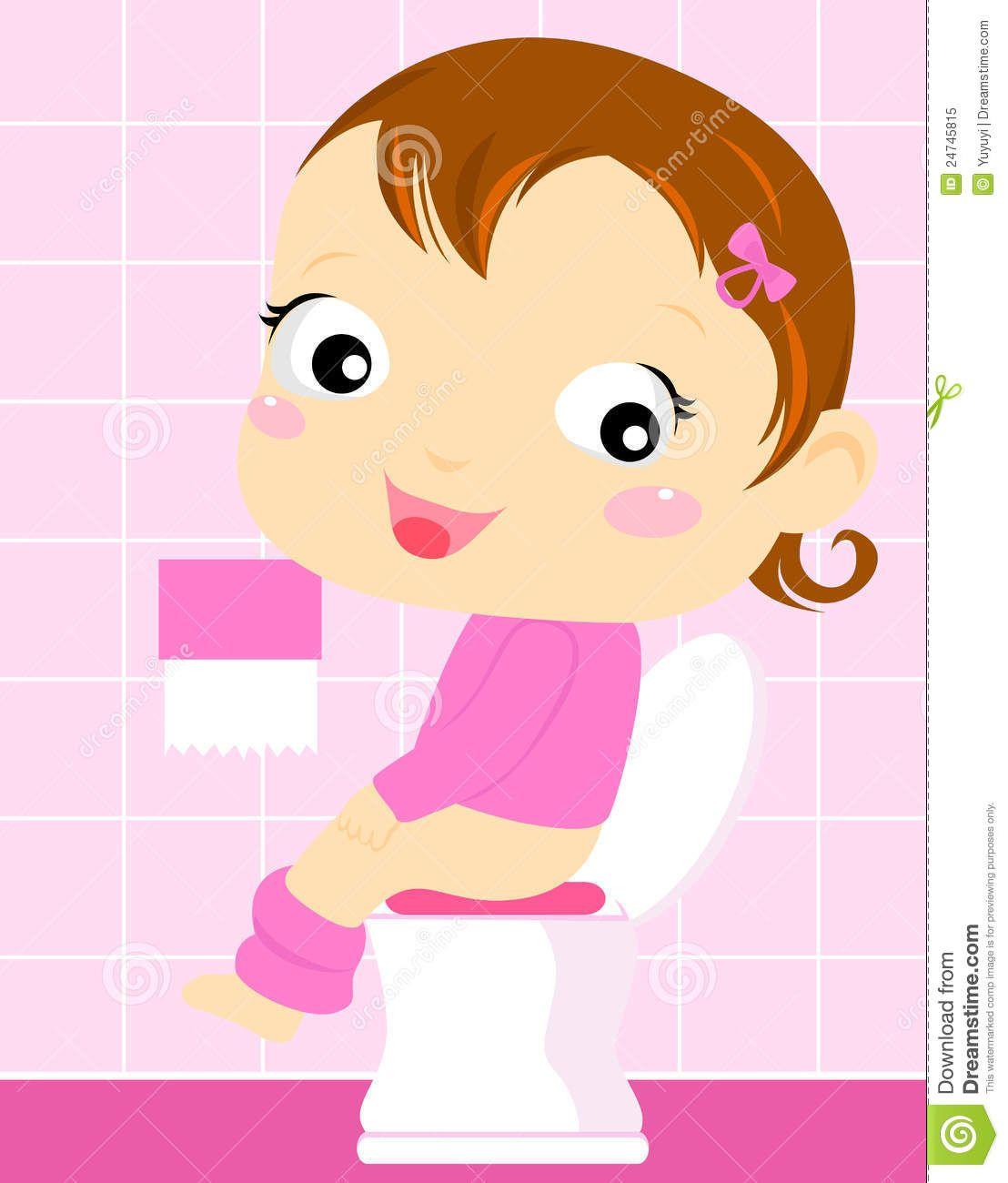 girl toilet clipart.