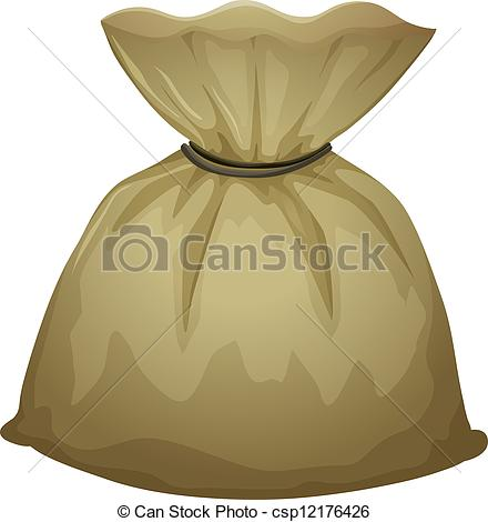 Vector Illustration of A brown pouch bag.