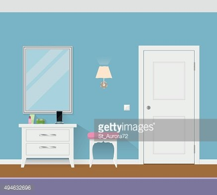 Modern interior hallway with door, mirror and pouf. Clipart.