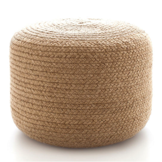 Natural Braided Indoor/Outdoor Pouf.
