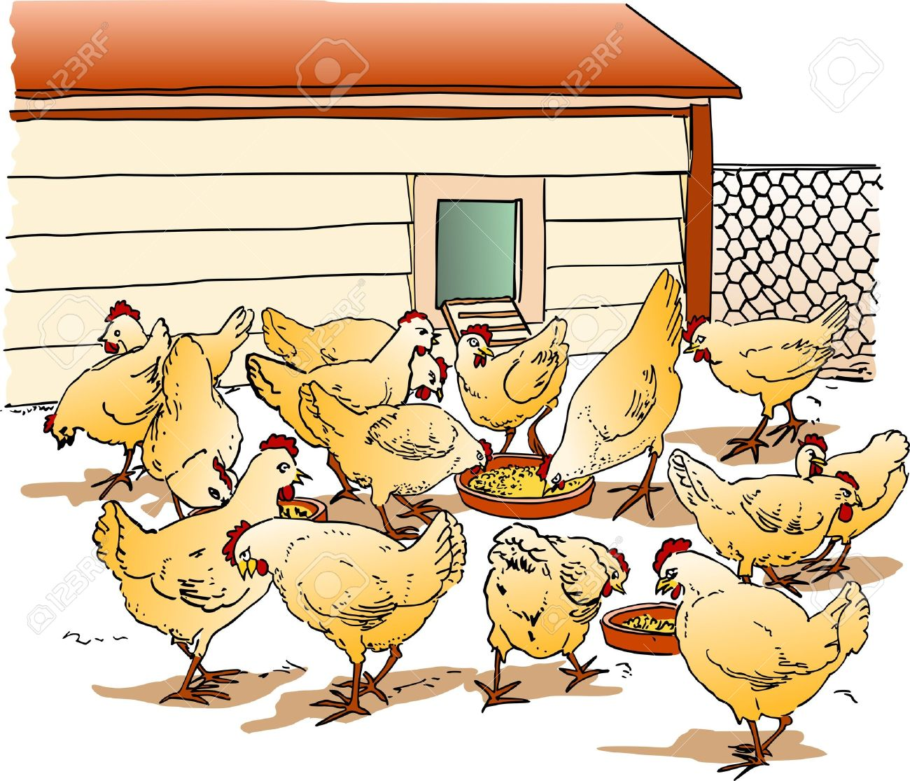 chicken farm clipart - Clipground