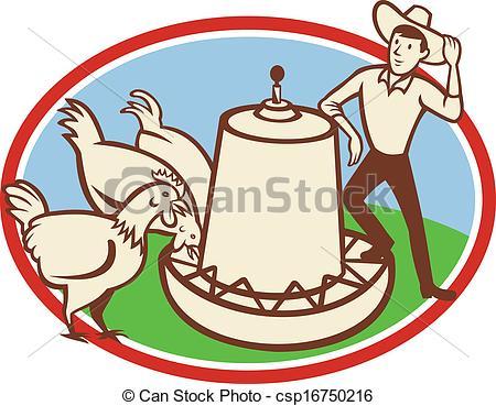 Vector Clip Art of Chicken Farmer Feeder Cartoon.