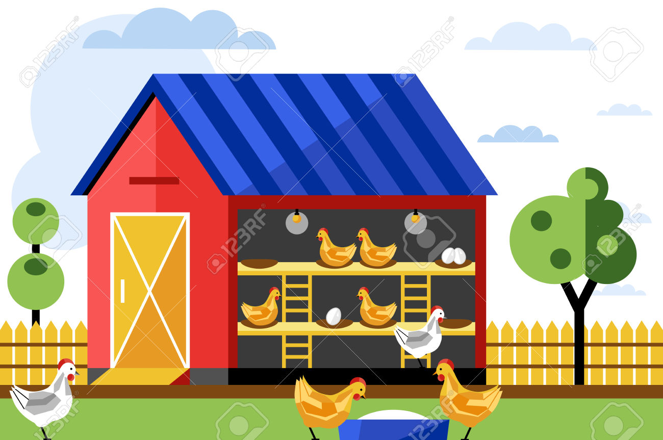 Chicken And Egg Farm, Vector Illustration. Poultry Farm. Royalty.